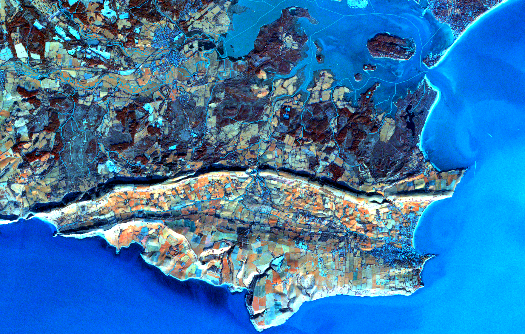 Isle of Purbeck, Sentinel satellite image January 2017 Bands 7 3 and 2